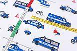 """Клапоть тканини """"Сині машинки Police"""", фон - білий, №2964, розмір 30*80 см, фото 4"""