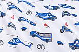 """Клапоть тканини """"Сині машинки Police"""", фон - білий, №2964, розмір 30*80 см, фото 5"""