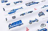 """Клапоть тканини """"Сині машинки Police"""", фон - білий, №2964, розмір 30*80 см, фото 6"""