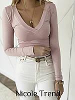 Женская стильная кофточка с V-образным декольте, фото 1