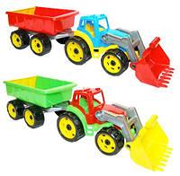 Трактор игрушка с ковшем и прицепом ТехноК 3688