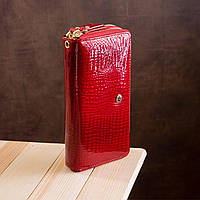 Лаковий гаманець червоного кольору на дві блискавки ST Leather