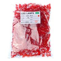 1000x LED светодиод 5мм 1.8-2В 20мА, красный, 104853