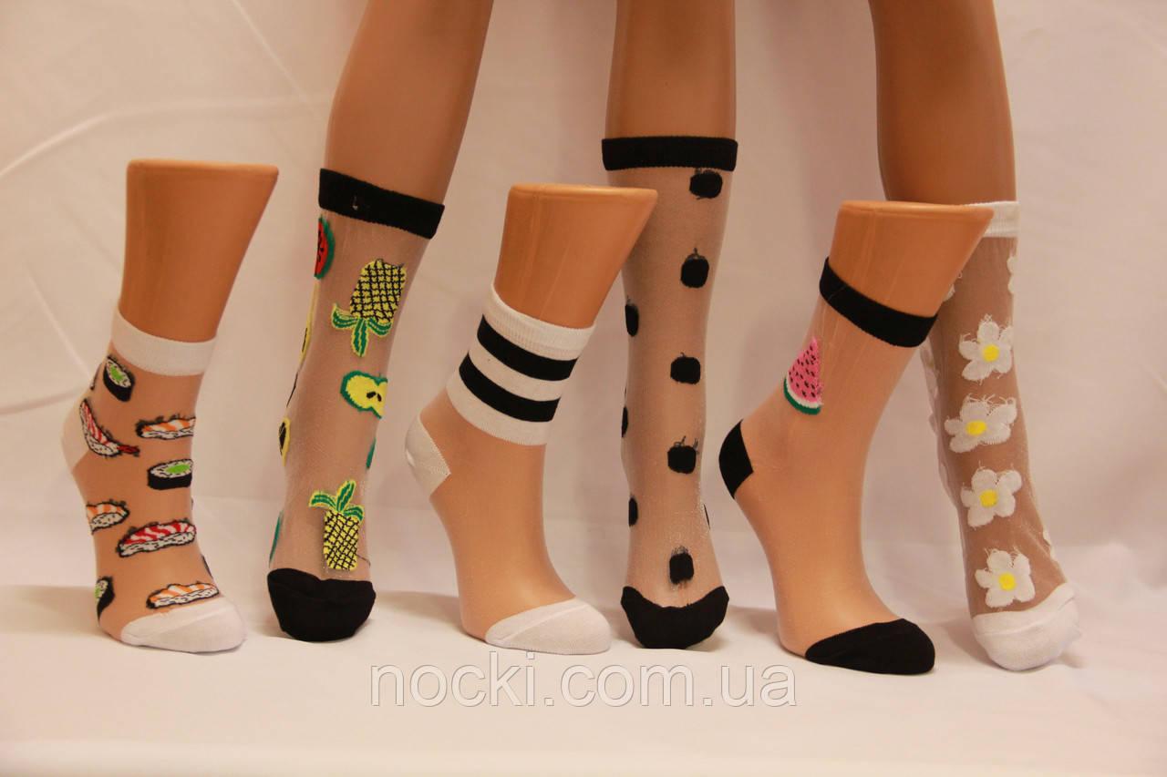 Жіночі шкарпетки середні з капроном і малюнком КАРДЕШЛЕР асорті