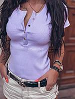 Жіноча стильна трикотажна футболка на гудзиках, фото 1