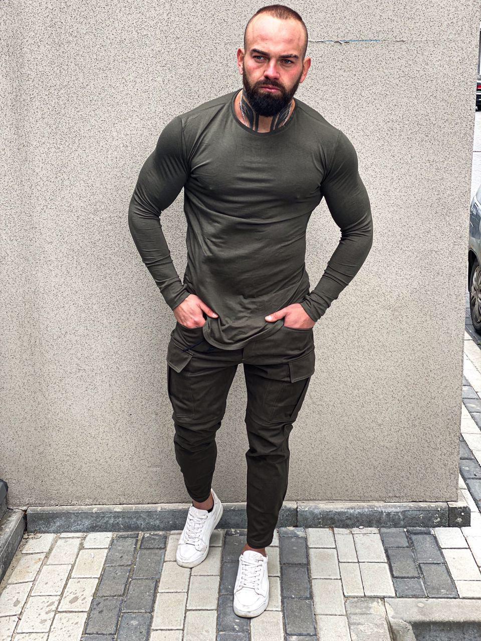 Штани карго + лонгслів чоловічий | Комплект зелений демісезонний ЛЮКС якості