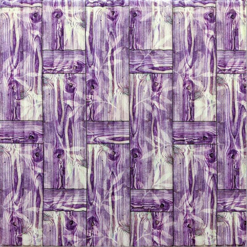 Декоративная 3D панель стеновая самоклеющаяся БАМБУКОВАЯ КЛАДКА ФИОЛЕТОВЫЙ 700х700х8.5мм