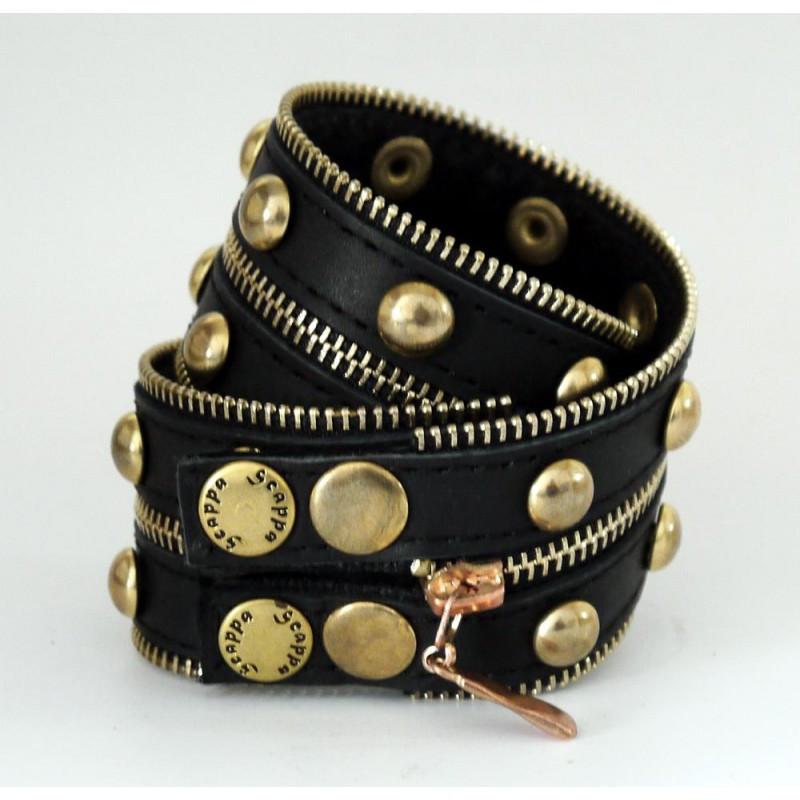 """Широкий жіночий стильний браслет з блискавкою в два оберти з натуральної шкіри """"Gold Silver"""""""