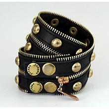 """Широкий женский стильный браслет с молнией в два оборота из натуральной кожи """"Gold Silver"""""""