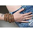 """Широкий жіночий стильний браслет з блискавкою в два оберти з натуральної шкіри """"Gold Silver"""", фото 4"""
