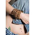 """Широкий жіночий стильний браслет з блискавкою в два оберти з натуральної шкіри """"Gold Silver"""", фото 5"""