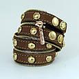"""Широкий жіночий стильний браслет з блискавкою в два оберти з натуральної шкіри """"Gold Silver"""", фото 9"""