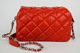 Сумка с цепью Polina&Eiterou 9572 Красный Натуральная кожа