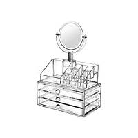Органайзер для косметики акриловый настольный бокс для хранения косметики с зеркалом