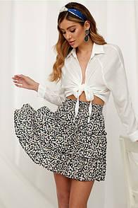 Женская легкая юбка с цветочным принтом черная