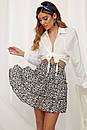 Черная женская легкая юбка с цветочным принтом, фото 2