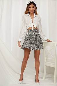 Черная женская легкая юбка с цветочным принтом