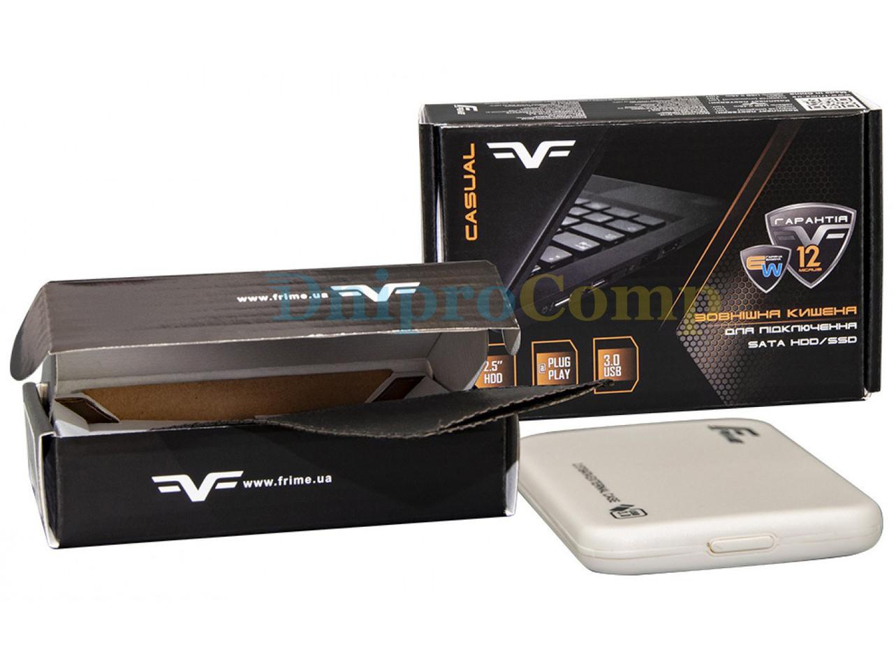 "Зовнішній кишеню Frime SATA HDD/SSD 2.5"", USB 3.0, Plastic, White (FHE71.25U30)"