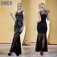 Черное платье со шлейфом и пайетками Турция Kikiriki