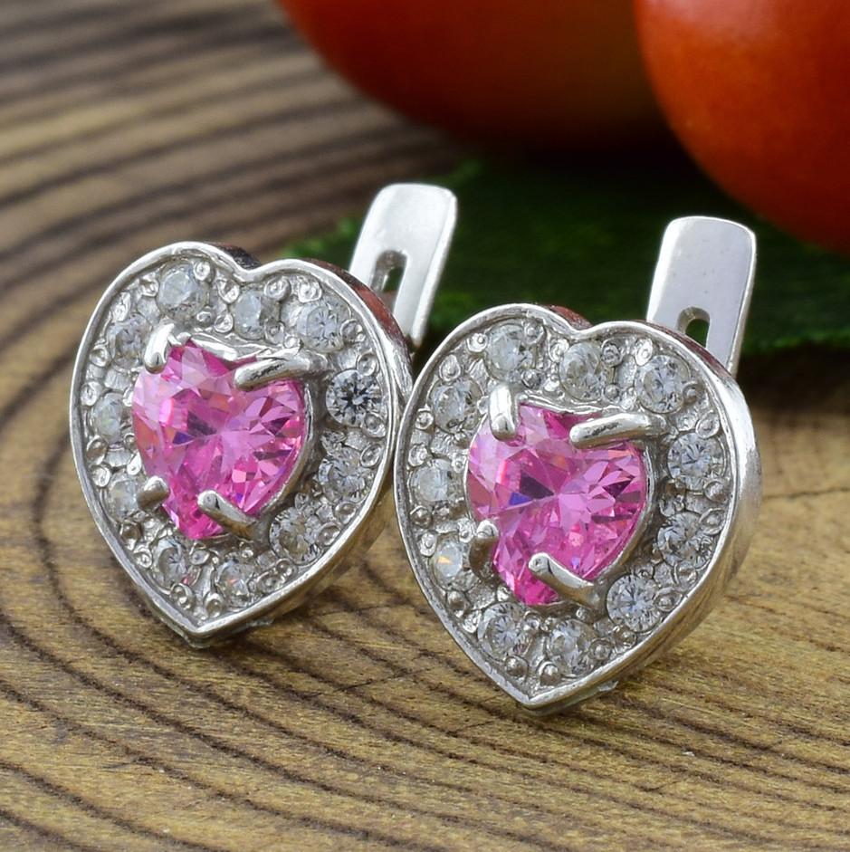 Срібні сережки Кришталеве серце розмір 9х9 мм вставка рожеві фіаніти вага 2.95 г