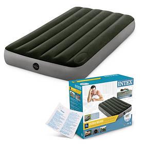 Матрас надувной (велюр) 99*191*25 см,  зеленый, в кор-ке, Intex