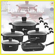 Набор кастрюль с гранитным антипригарным покрытием Higher Kitchen HK-308, кастрюли с крышками, набор посуды