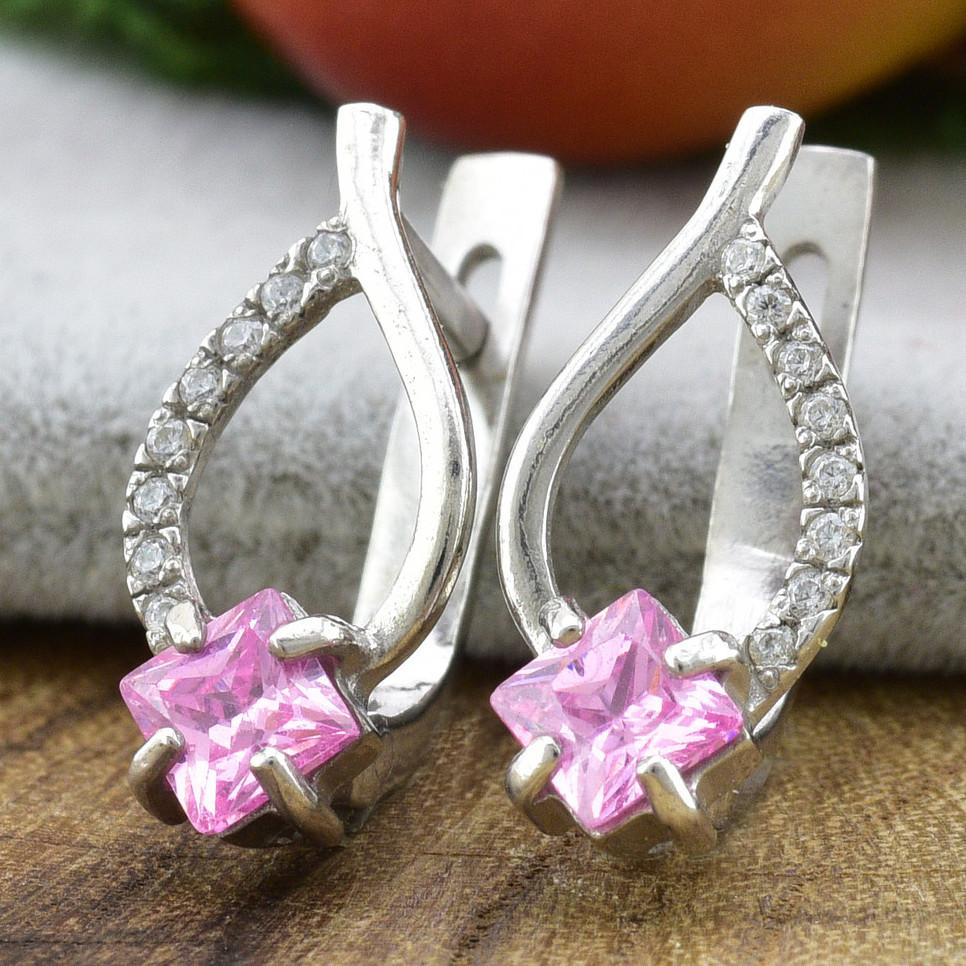 Серебряные серьги Настуся размер 16х8 мм вставка розовые фианиты вес 2.64 г