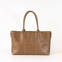 Коричневая женская сумка K74-20/3 деловая саквояж с ручками и длинным ремешком через плечо, фото 1