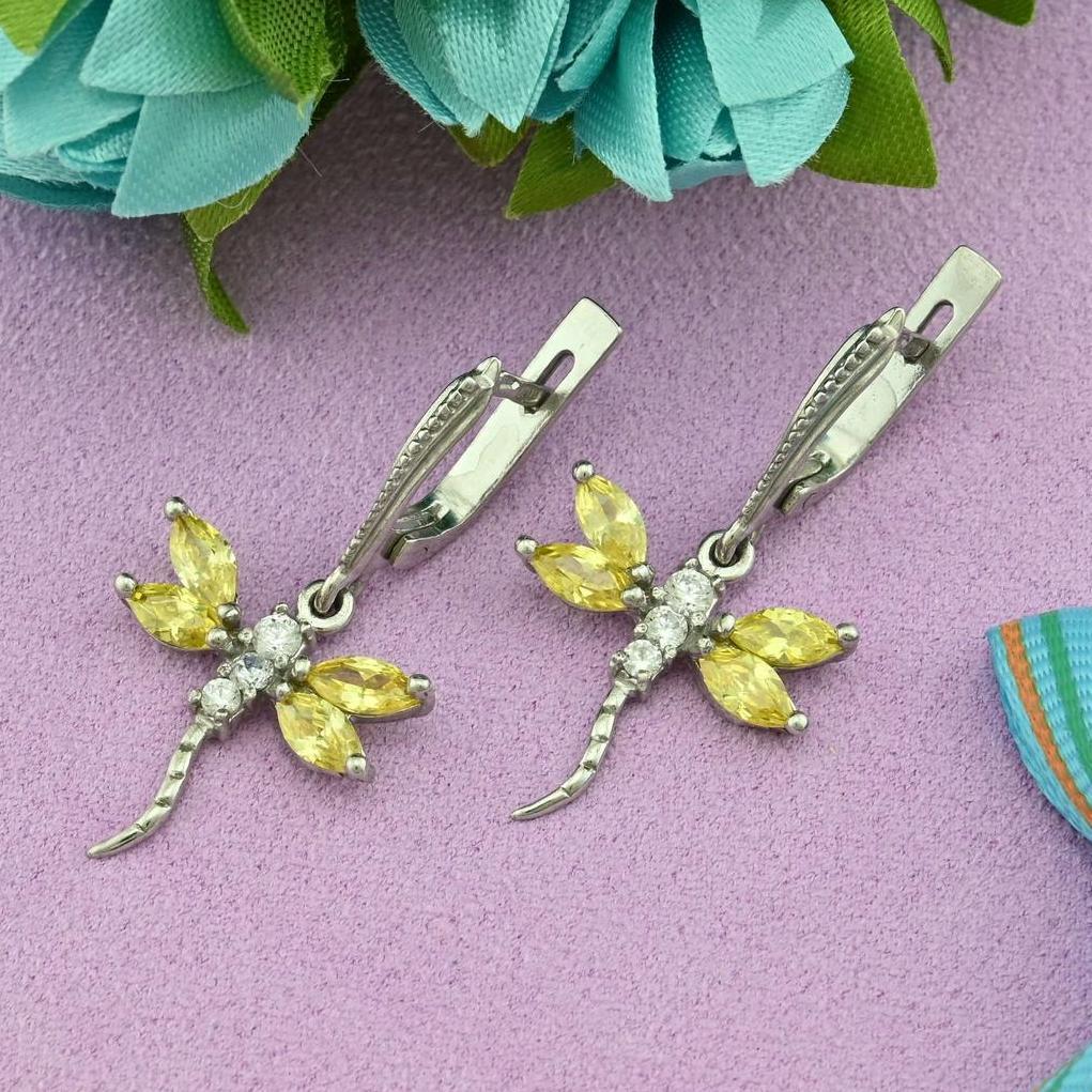 Серебряные серьги Стрекоза размер 32х17 мм желтые фианиты вес 4.6 г