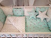 Хлопковое постельное белье для новорожденных ( с защитой )