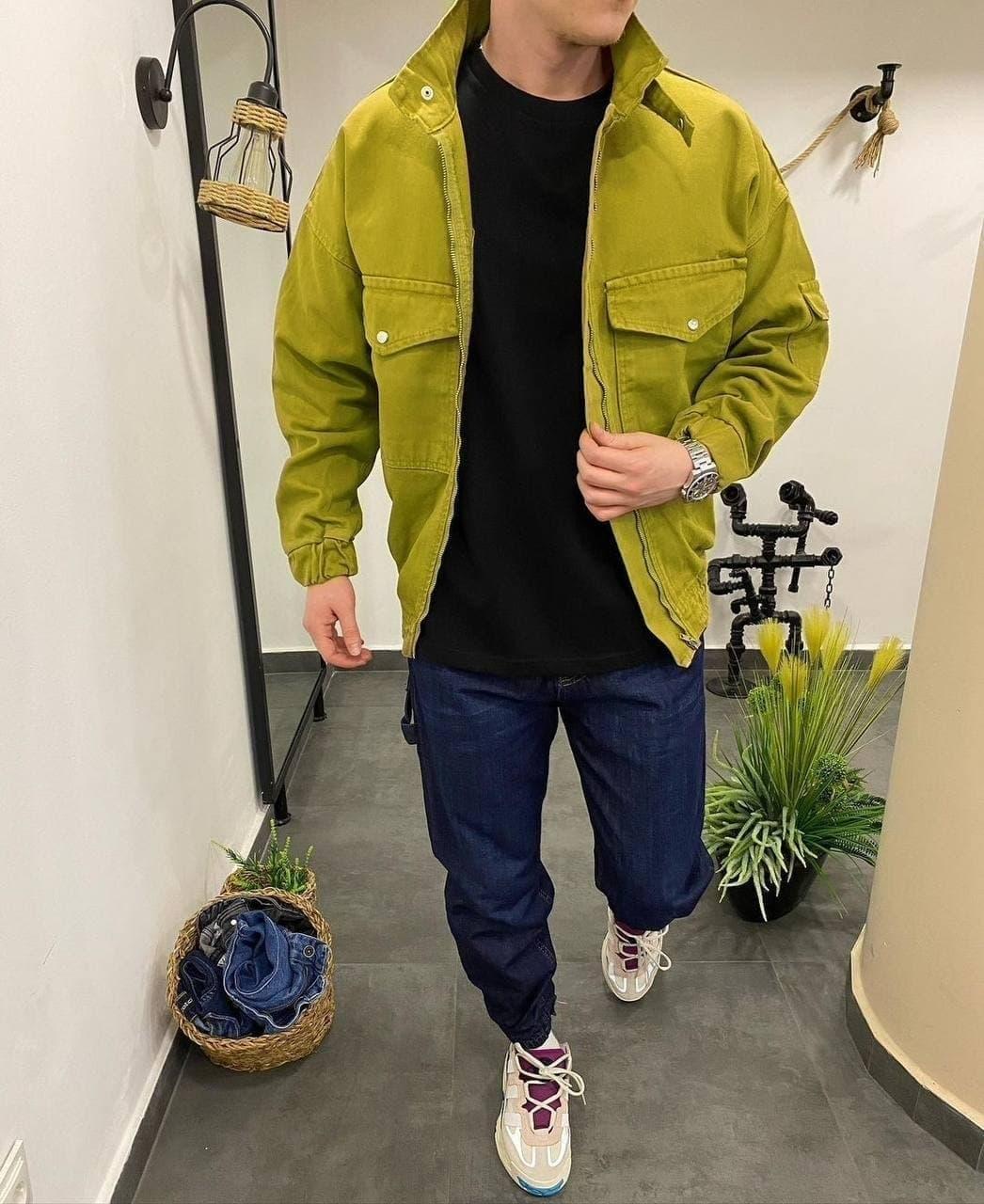 Чоловіча Джинсова Куртка Зелена