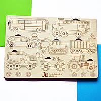 """Рамка вкладыш """"Транспорт"""", деревянный пазл сортер для детей. Карточки вкладыши из дерева для раскраски."""