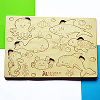 """Рамка вкладыш """"Морские жители"""", деревянный пазл сортер для детей. Карточки вкладыши из дерева для раскраски."""