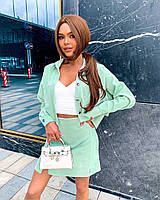 Женский стильный джинсовый костюм: юбка и пиджак, фото 1