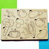 """Рамка вкладыш """"Огород"""", деревянный пазл сортер для детей. Карточки вкладыши из дерева для раскраски."""