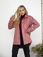 Розовая замшевая асимметричная рубашка свободного кроя с карманами