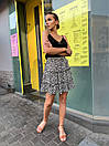 Женская легкая юбка с цветочным принтом черная, фото 6