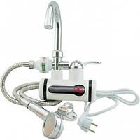 Проточный водонагреватель кран Delemano бойлер с душем и циферблатом (Подключение с низу и боковое)