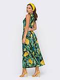 Зелену сукню-міді на запах з принтом ананас ЛІТО, фото 3