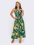 Зеленое платье-миди на запах с принтом ананас ЛЕТО, фото 2
