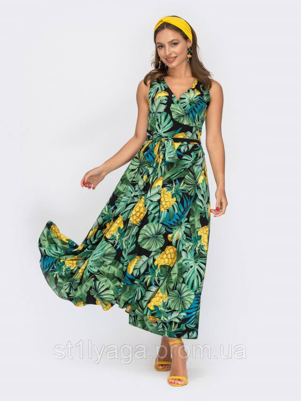 Зеленое платье-миди на запах с принтом ананас ЛЕТО