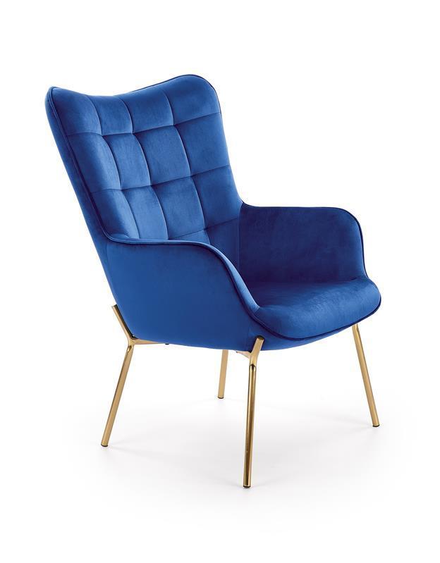 Кресло CASTEL 2 синий /золотой (Halmar)