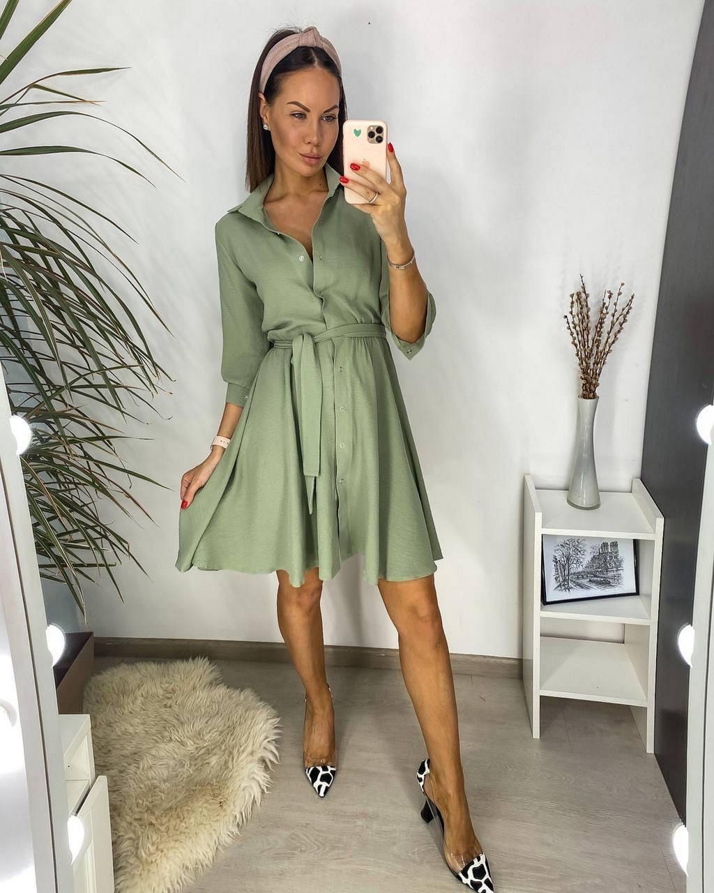 Вільне жіноче плаття на кнопках плюс пояс, спідниця кльош, 00752 (Оливковий), Розмір 42 (S)