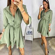 Вільне жіноче плаття на кнопках плюс пояс, спідниця кльош, 00752 (Оливковий), Розмір 42 (S), фото 2