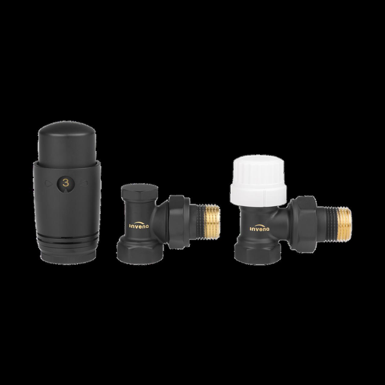 Комплект радіаторний кутовий (дизайнерський, чорний) Invena