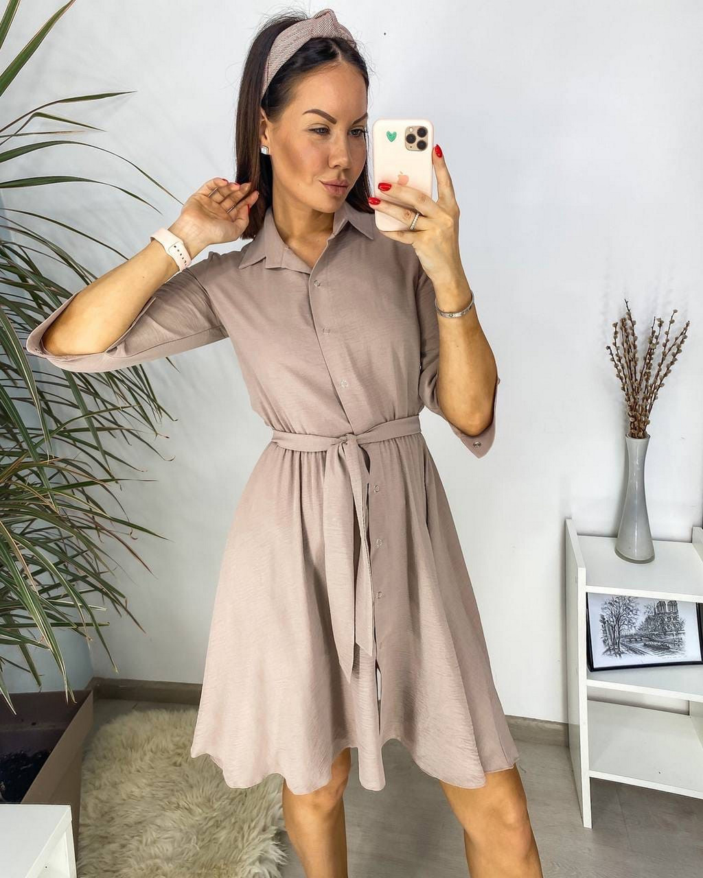 Повсякденне плаття з американського креп-жатки, спідниця кльош, 00751 (Пудровий), Розмір 44 (M)