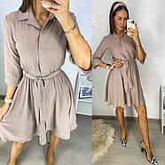 Повсякденне плаття з американського креп-жатки, спідниця кльош, 00751 (Пудровий), Розмір 44 (M), фото 2