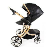 Детская универсальная комбинированная коляска 2в1 для новорожденных детей с поворотным блоком черная