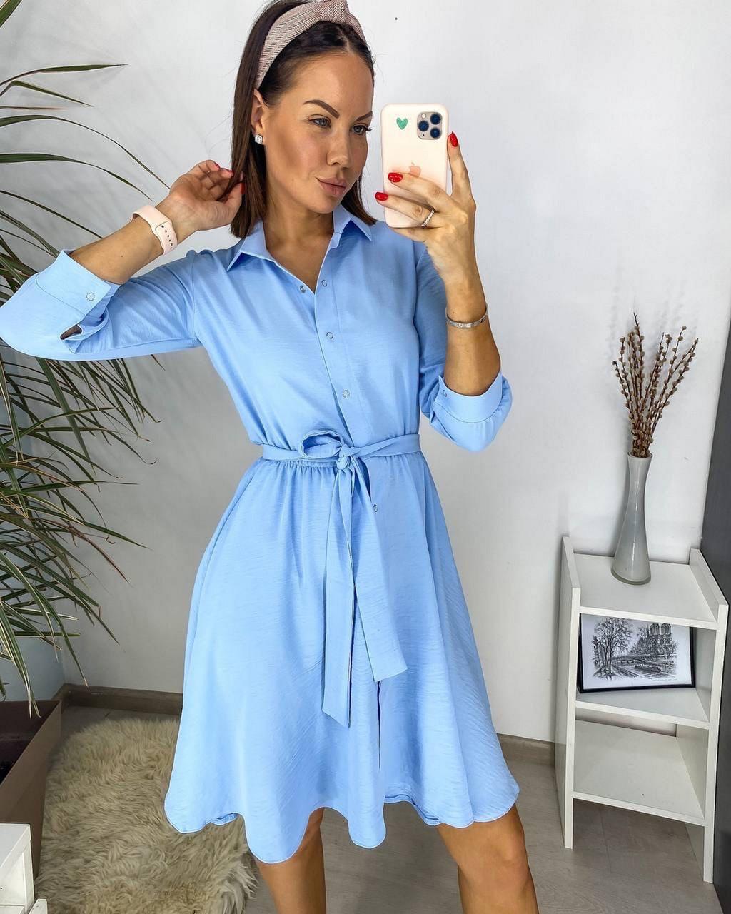Легкое воздушное платье с поясом, рукав три четверти на кнопке, 00750 (Голубой), Размер 42 (S)