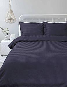 Постельное белье Lotus Отель - Сатин Страйп темно-синий 1*1 полуторный (Турция)
